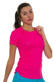 20e240e9b5748 Lucky In Love Women s Core Surreal Shocking Pink Tennis Short Sleeve