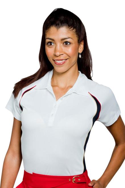 Textured Cap Sleeve Polo