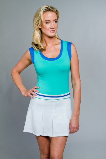 Pure Lime Sapphire Color Block Collection Sapphire Trim Pleated Skort: 7012-1465