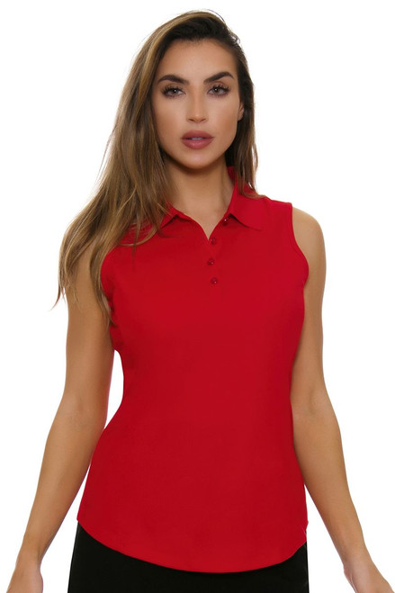 Greg Norman Essentials British Red Protek Micro Pique Sleeveless Golf Polo Shirt
