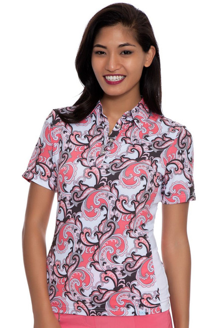 GGBlue Women's Melon Melody Erica Print Golf Polo Shirt