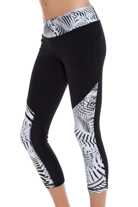New Balance Women's Black-White Printed Workout Crop Tight NB-WP61100-048 Image 4