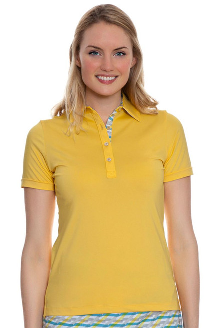 Peter Millar Women's Summerside Print Trim Golf Polo -Sunshine
