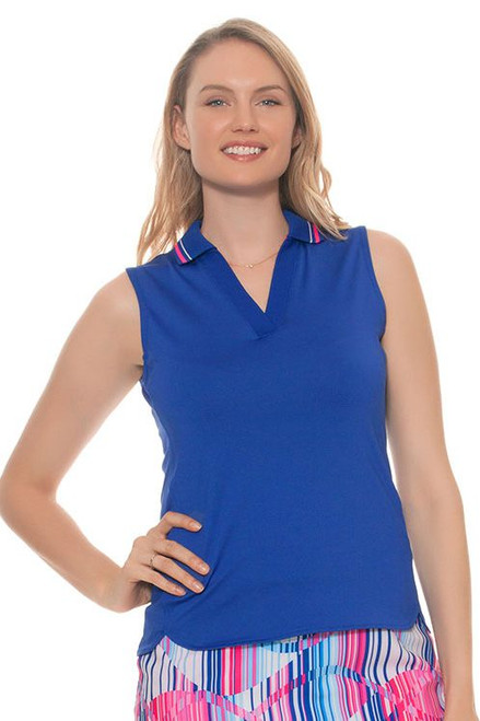 EP Pro Women's Sugar Rush V Neck Tipped Collar Golf Polo Shirt