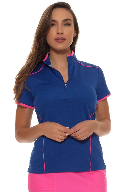 EP Pro Women's Sugar Rush Contrast Piped Zip Mock Golf Polol Shirt