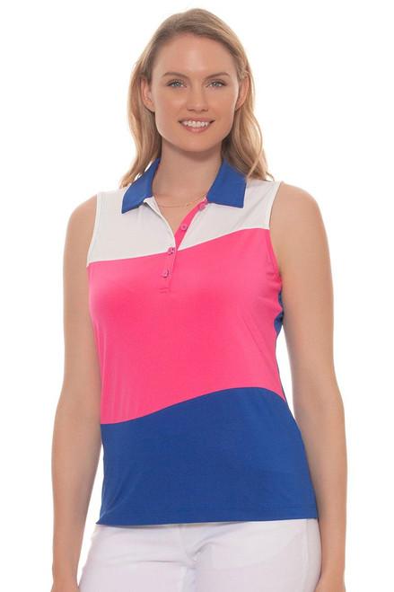 EP Pro Women's Sugar Rush Swirl Contrast Blocking Golf Polo Shirt