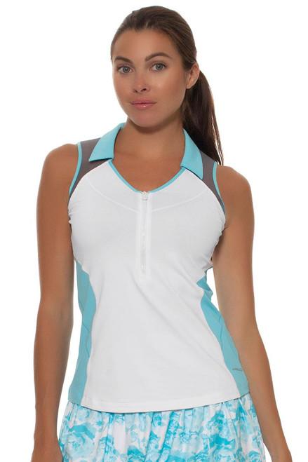 Annika Women's Sky Above Isla Zip V-Neck Sleeveless Golf Shirt
