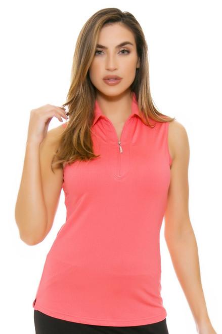 Jofit Women's Cabernet Jacquard Sleeveless Golf Polo Shirt