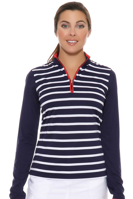 EP Pro Women's Rittenhouse Tour-Tech Stripe  Zip Mock Golf Polo