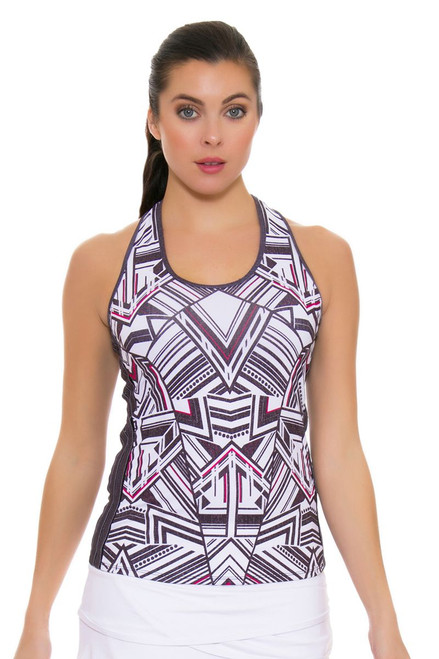Lucky In Love Women's In the Fast Lane Fast Lane Racerback Black Tennis Tank