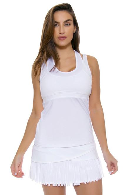 Lucky In Love Women's Fringe Long White Fringe Scallop Tennis Skirt