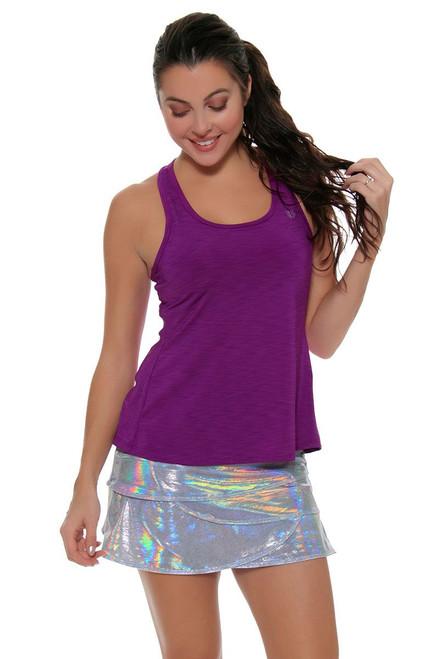 Lucky In Love Women's Print Medley Iridescent Silver Scallop Tennis Skirt
