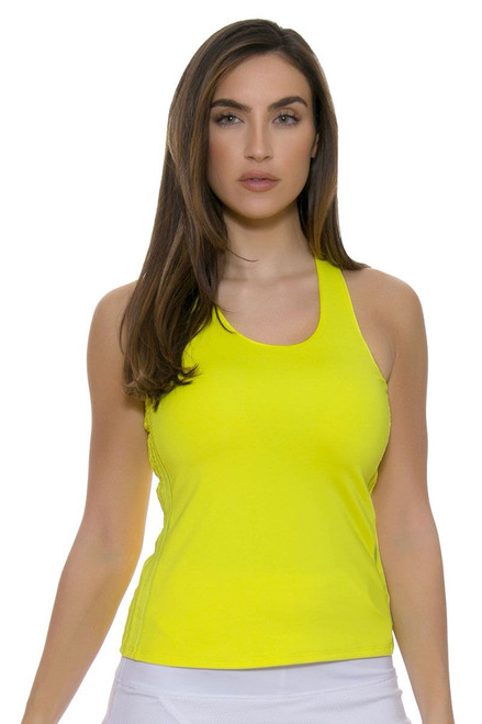 Lucky In Love Women's Core Tops Doubled Front Racerback Yellow Tennis Tank