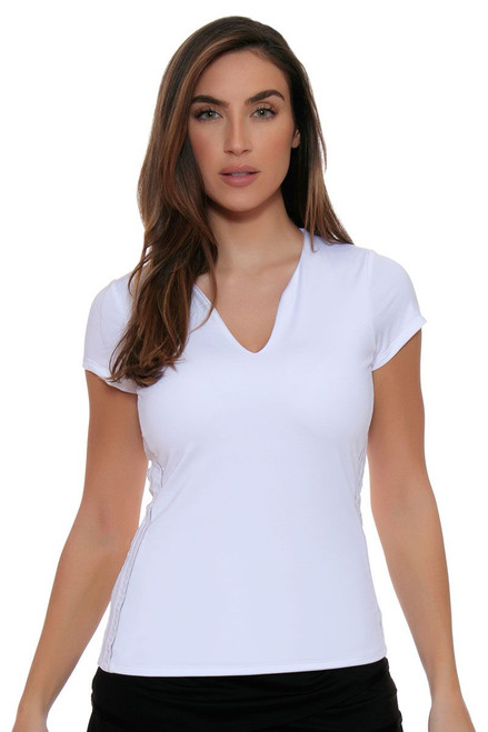 Lucky In Love Women's Core Tops Doubled Front White Tennis Cap Sleeve