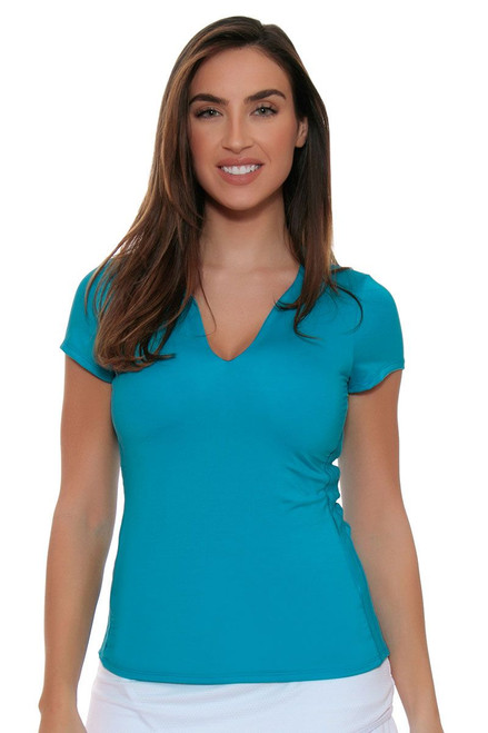 Lucky In Love Women's Core Tops Double Front Blue Tennis Cap Sleeve