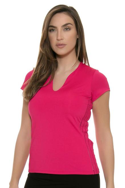 Lucky In Love Women's Core Tops Double Front Pink Tennis Cap Sleeve