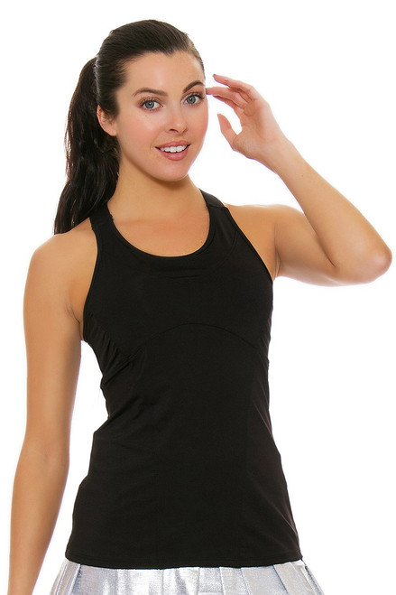 Lucky In Love Women's Core Tops Goddess Cami Black Tennis Tank