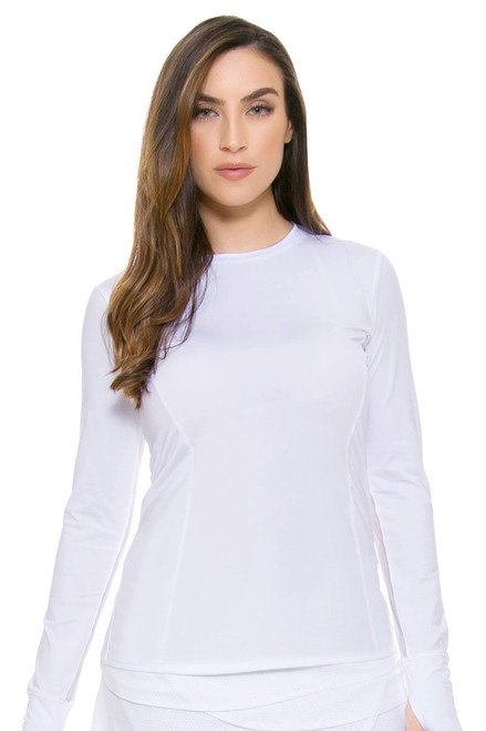 Lucky In Love Women's Core Tops Athletic Crew Core Tennis White Long Sleeve