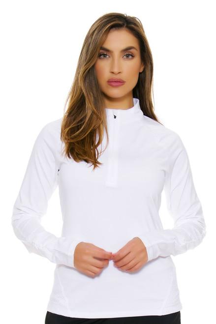 Half Zip Mesh White Pullover FT-TW163RV9-100 Image 4