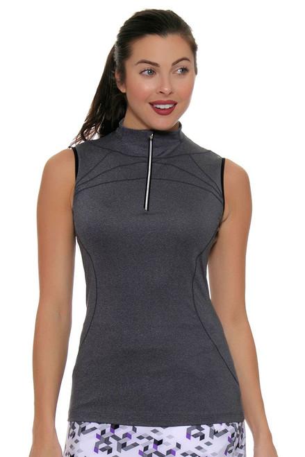 Annika Womens City Luxe Milia Funnel Neck Sleeveless Golf Shirt