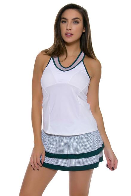 Lucky In Love Women's Green With Envy Dot To Dot Border Tier Tennis Skirt
