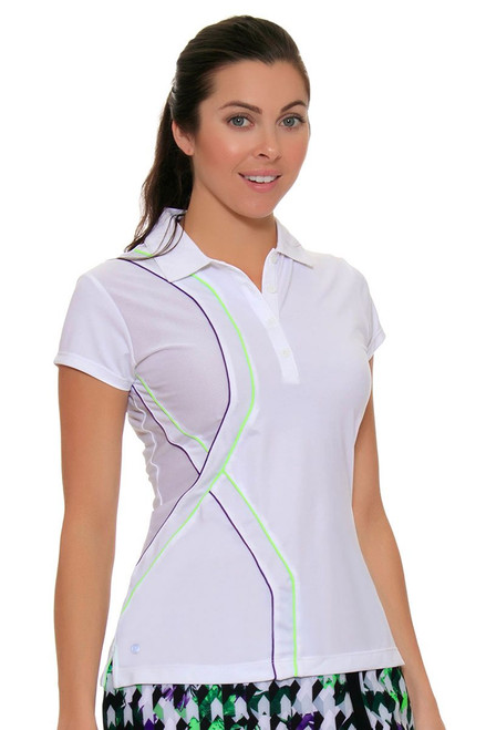 EP Sport Women's Prismatic Piped Mesh Blocked Golf Polo Shirt