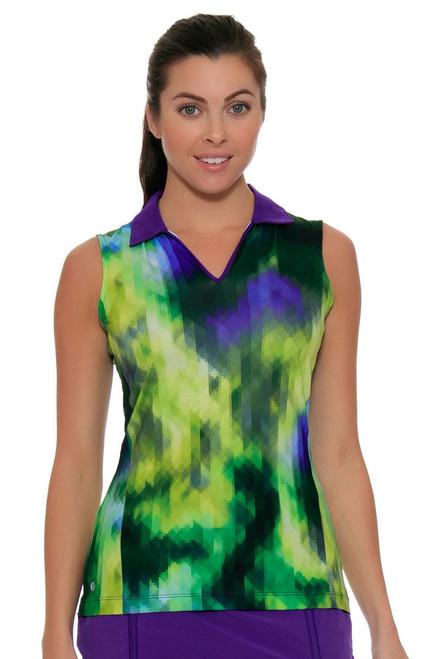 EP Sport Women's Prismatic Pixelated Floral Print Golf Polo Shirt