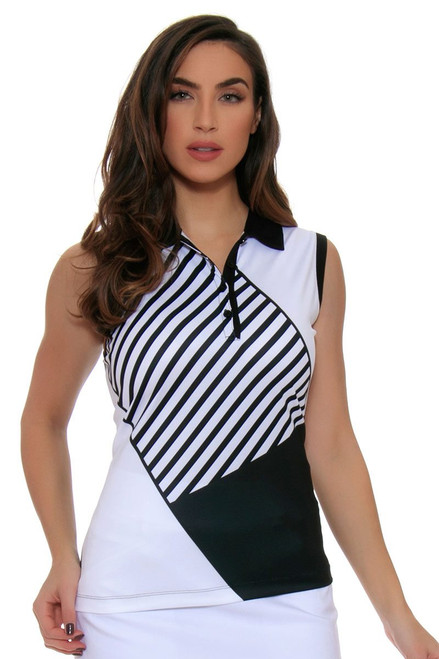 EP Pro Women's Power Play Geometric Stripe Blocked Print Sleeveless Golf Polo Shirt