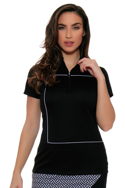 EP Pro Women's Power Play Zip Mock Piped Cap Sleeve Golf Polo Shirt