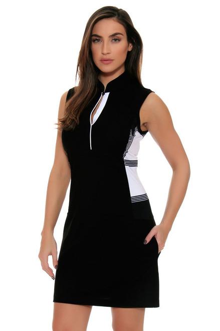 EP Pro Women's Power Play Print Blocked Covered Placket Sleeveless Golf Dress
