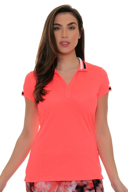 EP Sport Women's Mahalo Luau Split Mock Golf Short Sleeve Shirt