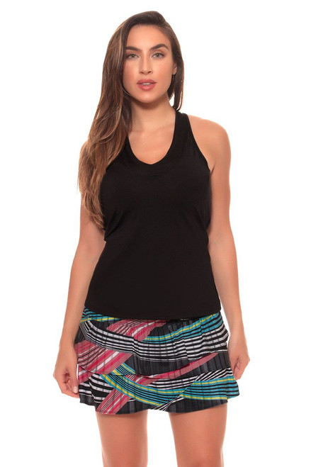 Lucky In Love Women's Print Medley Long Raceway Rouched Scallop Tennis Skirt