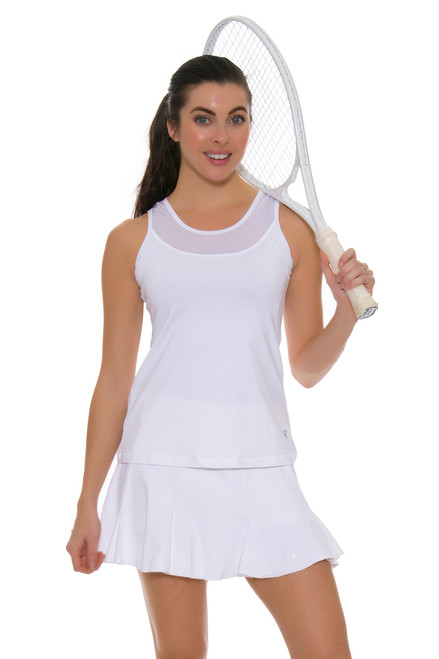 "Sofibella Women's Tulip Hem White 14"" Tennis Skirt SFB-1547 Image 1"