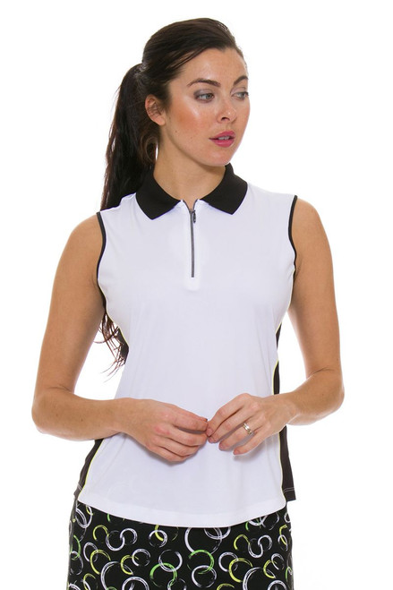 Greg Norman Women's Calypso ML75 Color Blocked White Golf Sleeveless