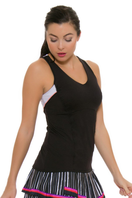 Lucky In Love Women's Outside the Lines V-Neck Black Tennis Sleeveless