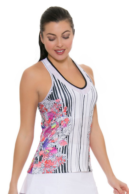 Lucky In Love Women's Outside the Lines Printed V-Neck Tennis Tank