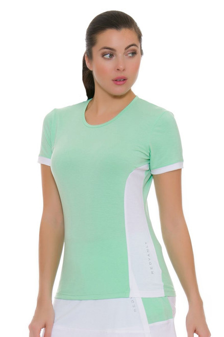 Redvanly Women's Clark Crew Green and White Tennis Short Sleeve