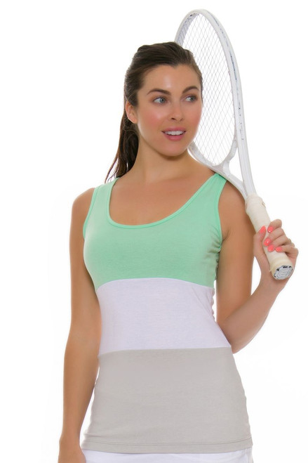 Redvanly Women's Hart Green White Grey Tennis Tank RV-3351 Image 1