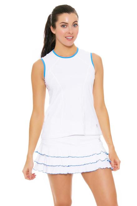 "Sofibella Women's Triumph Ruffled Hem 13"" White Tennis Skirt SFB-1686-White-Sky Blue Image 4"