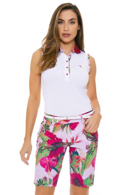 Chervo Women's Tropical Emotion Garry Pink Floral Golf Shorts