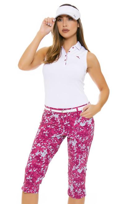 Chervo Women's Tropical Emotion Sadler Pink Golf Capri Pants