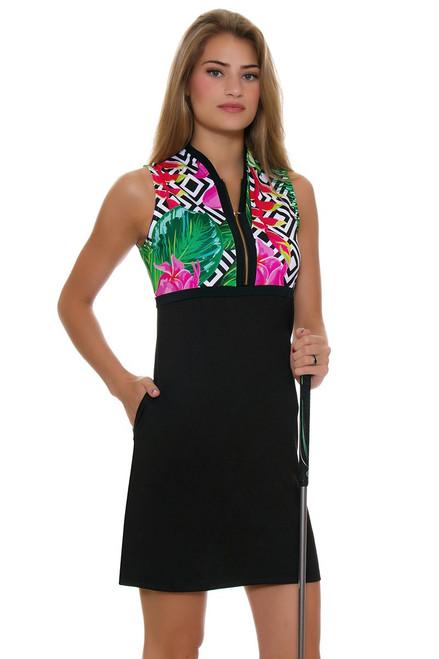 Allie Burke Floral Geo Print Black Golf Dress