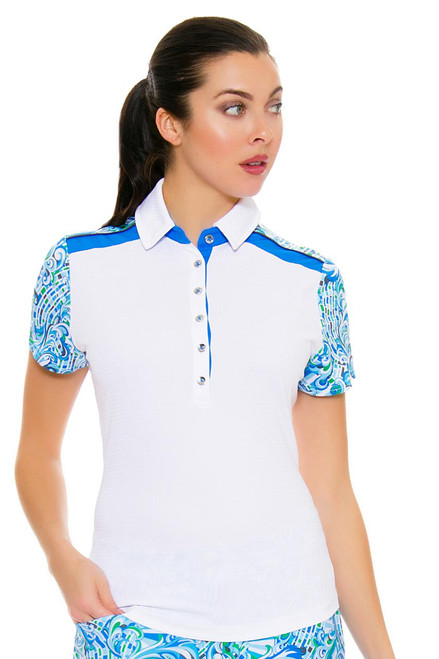 GGBlue Women's Turks & Caicos Dylan White Golf Polo Shirt