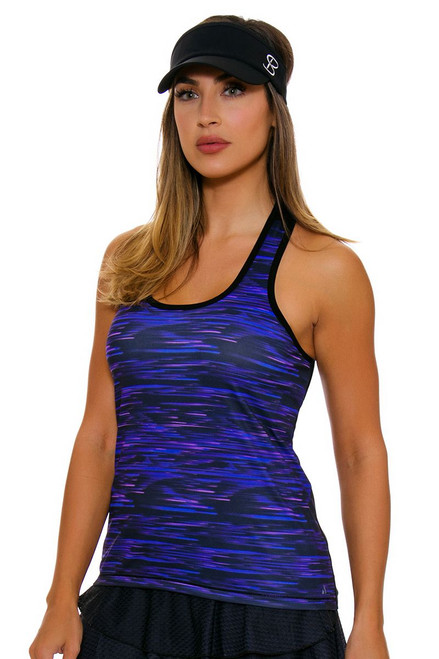 Solfire Women's Speed Stretch Your Limit Black Morrocan Blue Tennis Tank