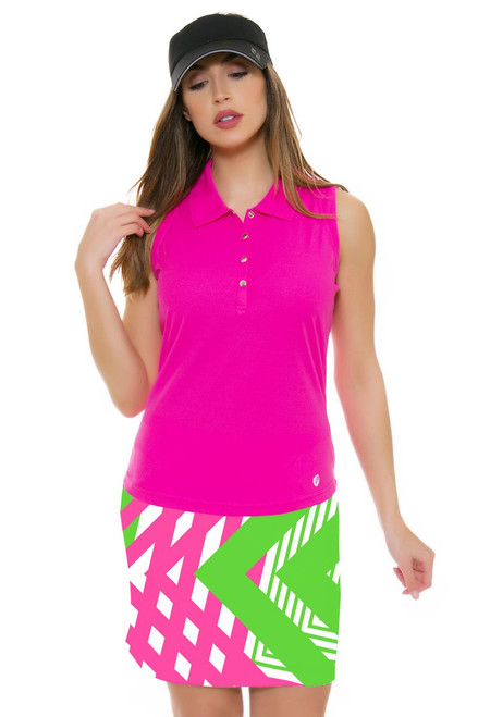 Fine Lines Pinkgreen Print Pull On Golf Skort