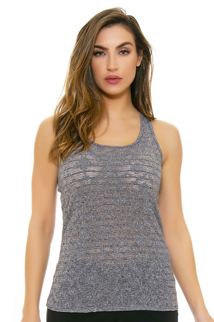 Oiselle Women's Heather Grid  Heather Charcola Workout Layering Tank OI-216117 Image 4
