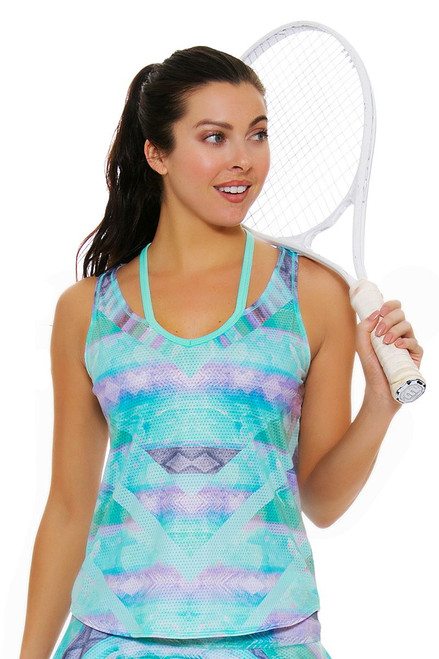 Lucky In Love Women's Desert Shore Chill Lagoon Tennis Tank