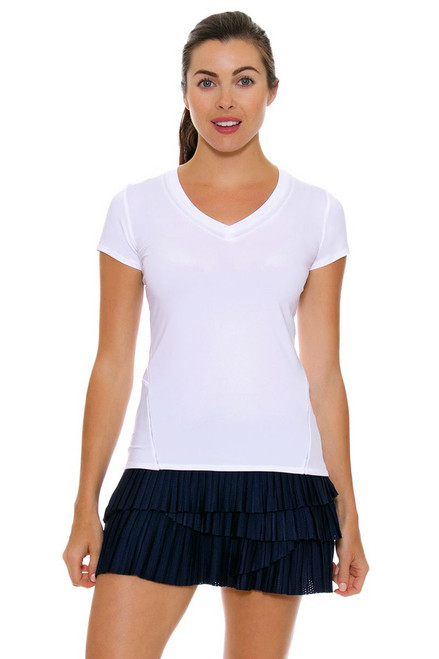 Lucky In Love Women's Core Bottoms Pleat Scallop Navy Tennis Skirt