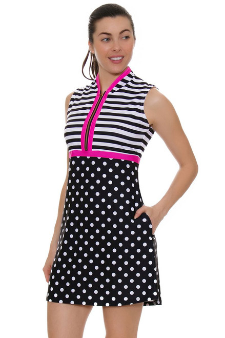 Allie Burke Polka Stripe Print Golf Dress