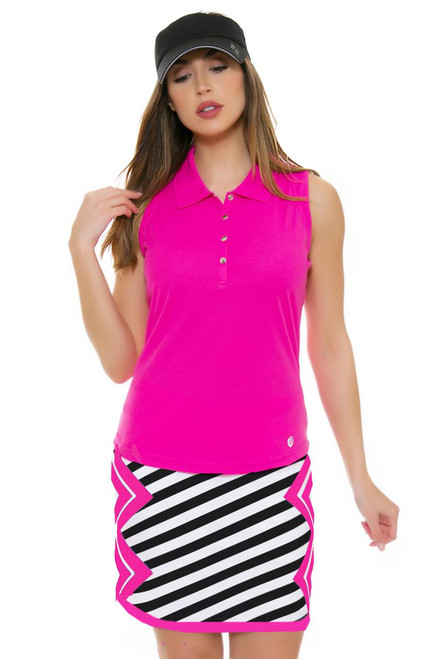 Allie Burke Stripe Pink Geo Print Pull On Golf Skort